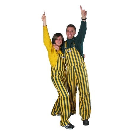 Adult Green & Yellow Striped Game Bib - Striped Velour Overalls