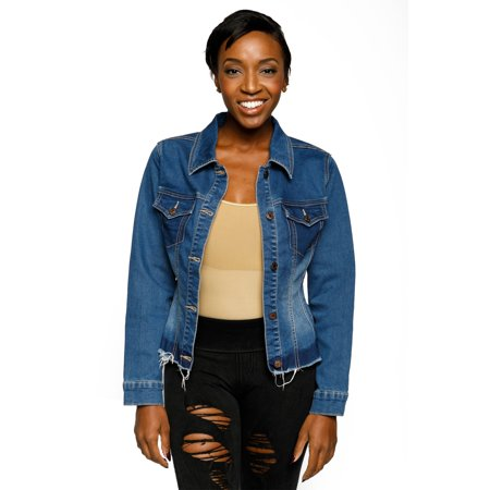 Xehar Women's Casual Fitted Frayed Hem Button Down Collared Denim Jacket