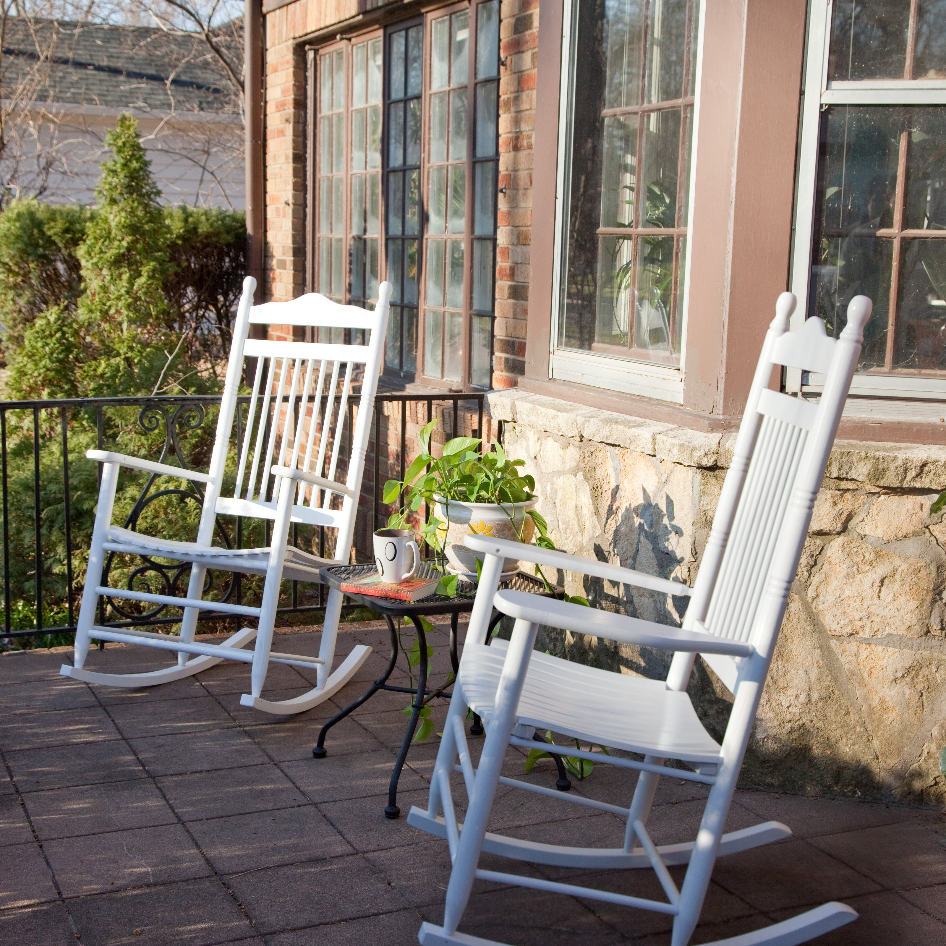 Dixie Seating Indoor/Outdoor Spindle Rocking Chairs   White   Set Of 2
