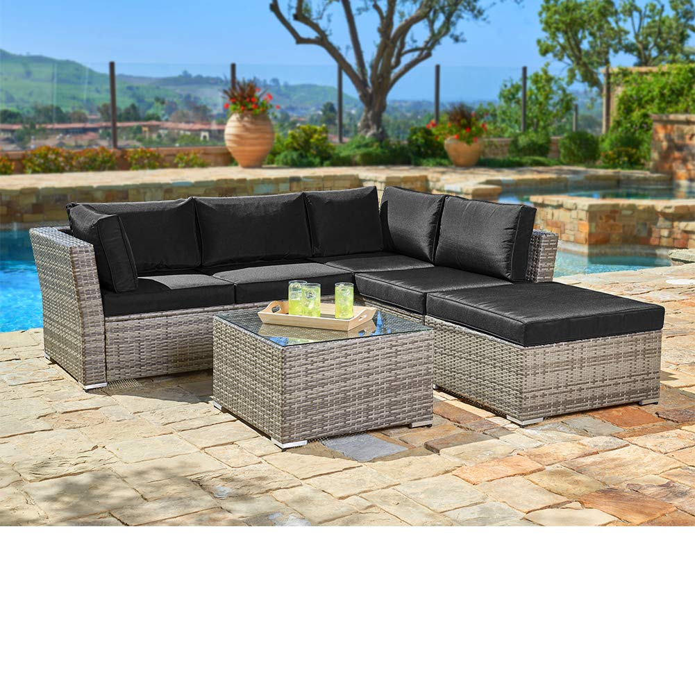 SUNCROWN Outdoor Sectional Sofa (4-Piece Set) All-Weather Grey Checkered  Wicker Furniture with Black Washable Seat Cushions & Glass Coffee Table |  ...