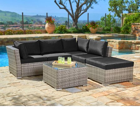 Suncrown Outdoor Sectional Sofa 4 Piece Set All Weather Grey