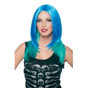 Womens Aqua Green Halloween Costume Accessory Wig