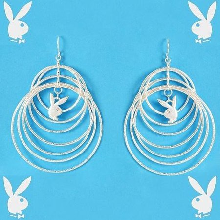 Playboy Earrings Infinity Circles Bunny Logo Charms Dangles Brushed Finish RARE