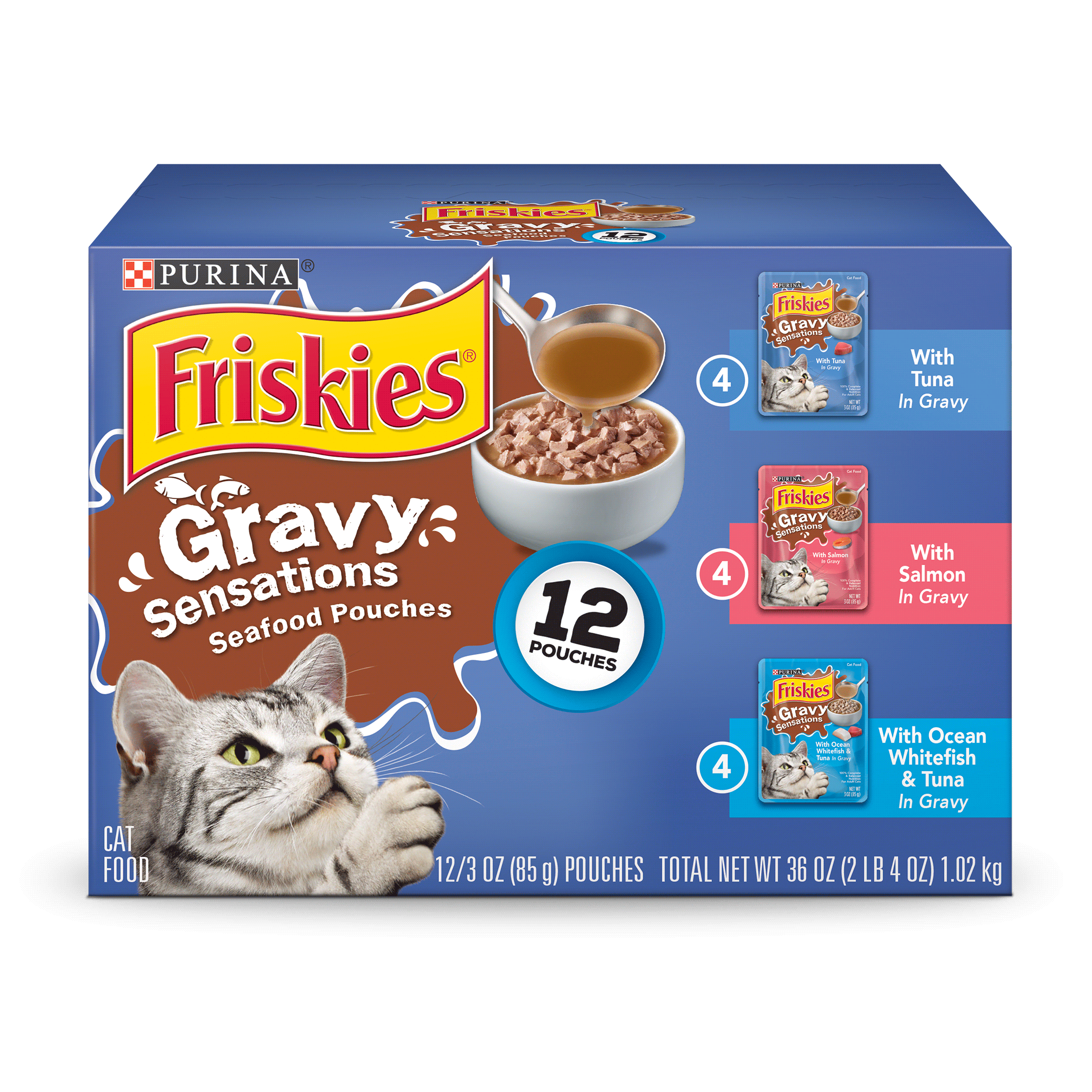 Purina Friskies Gravy Sensations Seafood Favorites Wet Cat Food Variety Pack - (12) 3 oz. Pouches