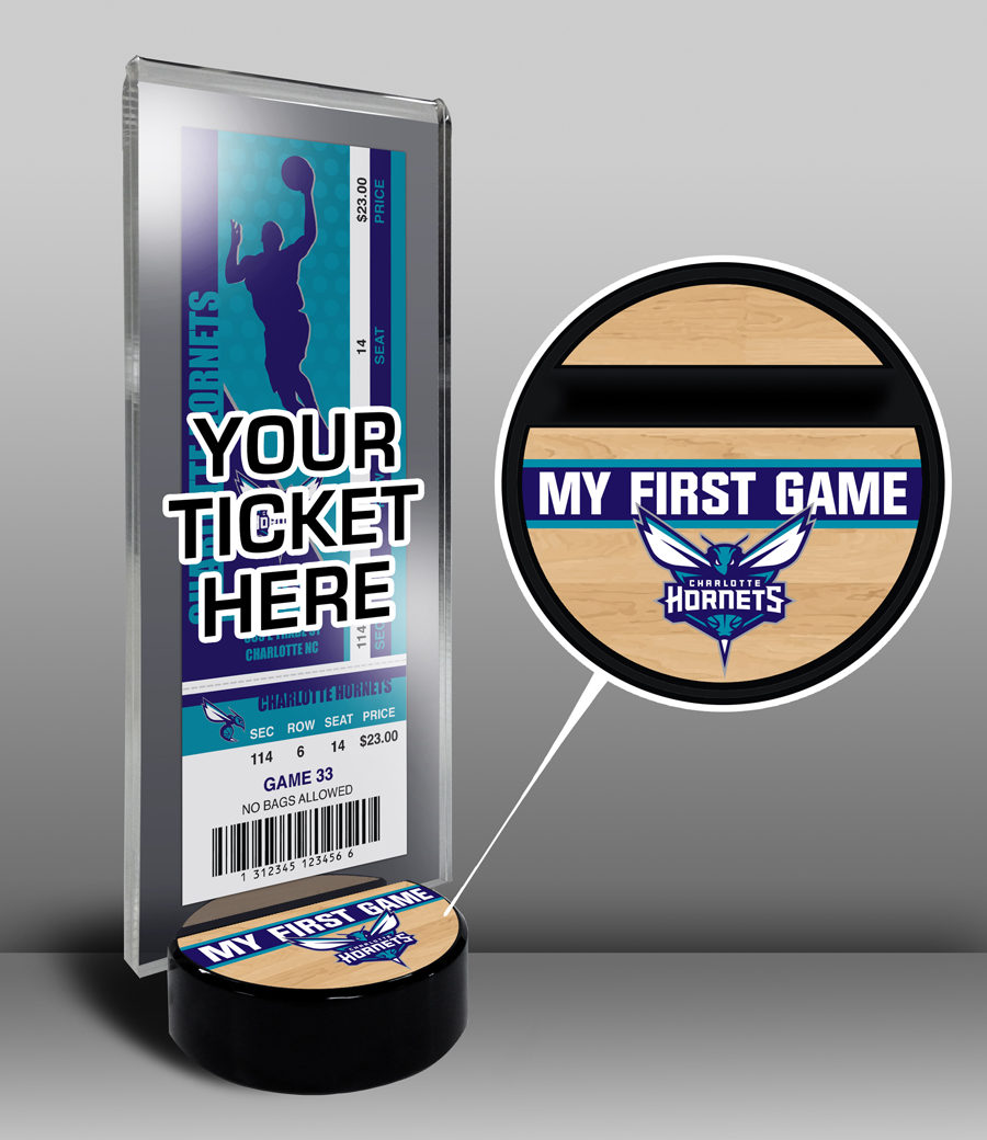 Charlotte Hornets My First Game Ticket Display Stand by