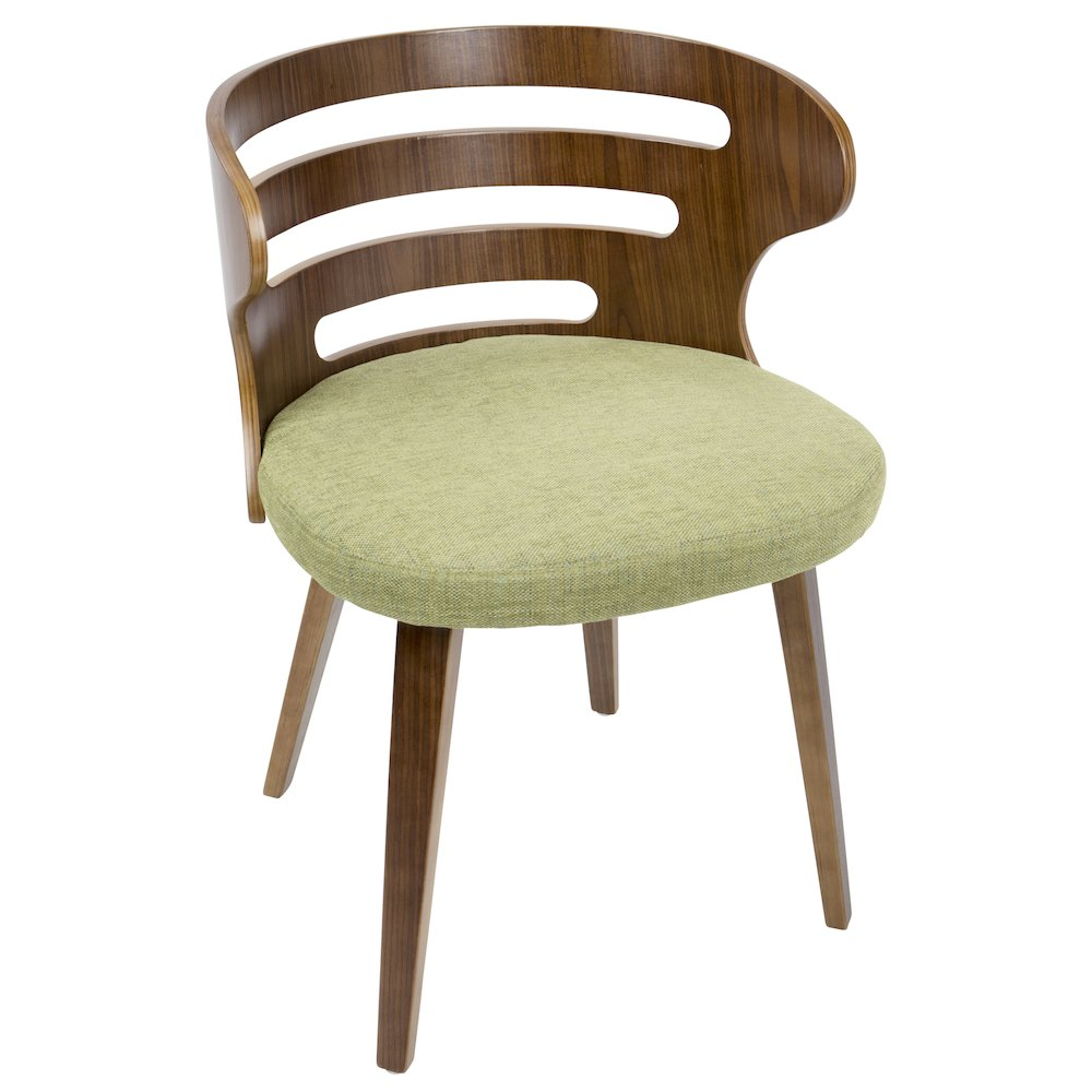 Cosi Mid-Century Modern Chair in Walnut and Green Fabric by Lumisource by