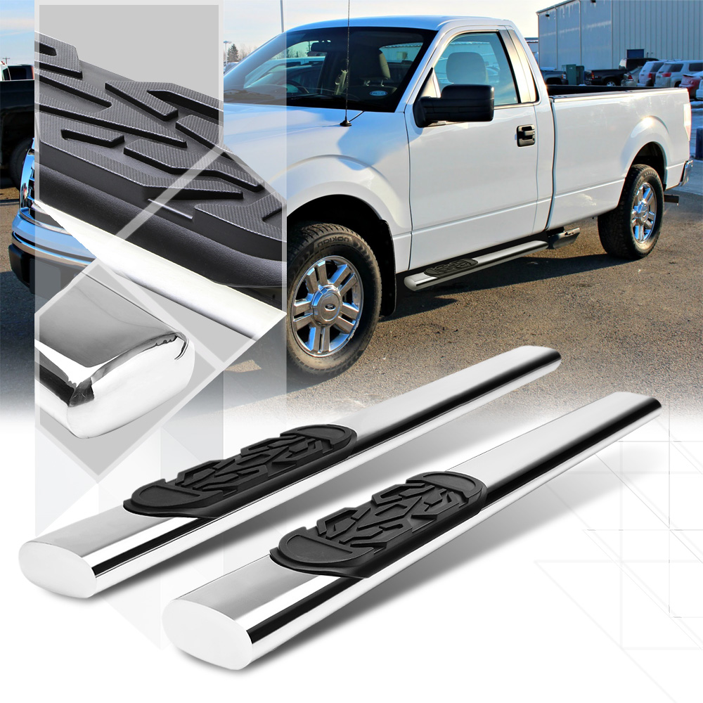 """Chrome 6"""" Oval Side Step Nerf Bar Running Board for 04-14 Ford F150 Standard Cab 05 06 07 08 09 10 11 12 13"""