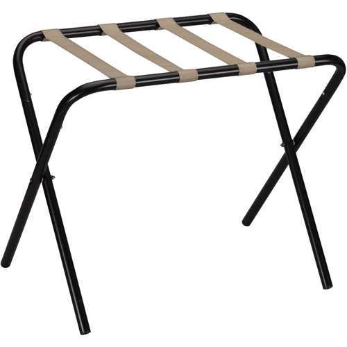 Household Essentials Luggage Rack, Black Frame with Khaki Straps