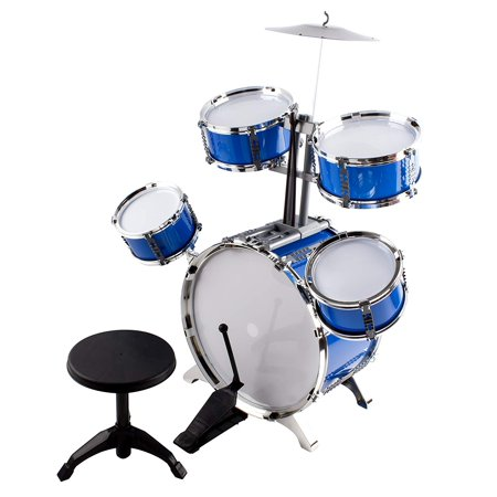 Classic Rhythm Toy Jazz Drum Big XXXL Size Children Kid's Musical Instrument Playset With 5 Drums, Cymbal, Chair, Kick Pedal, And Drumsticks A Perfect Beginner Set For Kids (Blue) ()