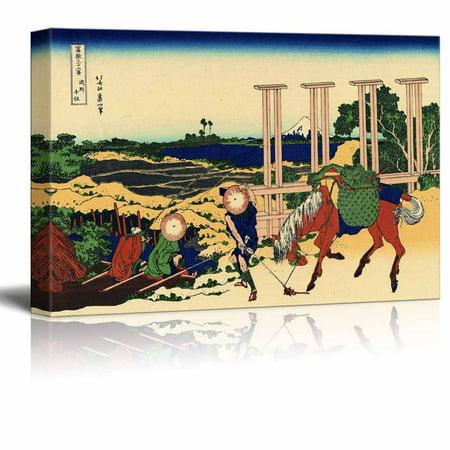 "wall26 - Canvas Wll Art - Senju, Musashi Province by Japanese Artist Hokusai - Thirty-six Views of Mount Fuji Series - Giclee Print and Stretched Ready to Hang - 32""x48"""