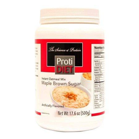 ProtiDiet Oatmeal - Maple Brown Sugar Jug - 20 Servings - High Protein 15g - Low Calorie - Low
