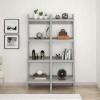 Ameriwood Home Hayes 4 Shelf Ladder Bookcase Bundle, Dove Gray