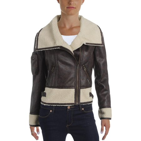 Members Only Womens Faux Fur Collar Motorcycle Jacket - Only Outerwear