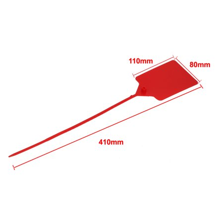 5pcs 410mm Long Nylon Self-Locking 110x80mm Label Marker Cable Tie Strap Zip Red - image 3 de 4