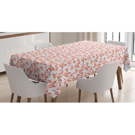 Floral Tablecloth, Leaves Florets Petals Pattern in Watercolor Paint Pastel Colored Elegance Artsy Picture, Rectangular Table Cover for Dining Room Kitchen, 60 X 90 Inches, Coral, by Ambesonne](Coral Table Cloth)