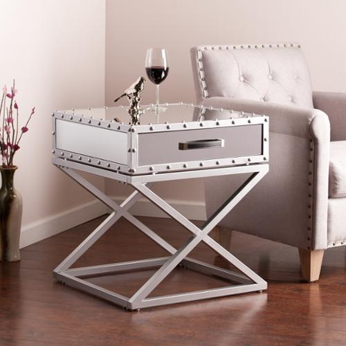 Upton Home Carollton Industrial Mirrored Side/ End Table