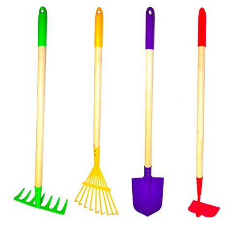 G & F 10018 JustForKids Kids Garden Tools Set, Rake, Spade, Hoe and Leaf Rake, 4-Piece by G & F