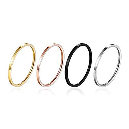 Thin Stainless Steel Rose Gold Couple Ring Simple Fashion Finger Rings (Black,6)