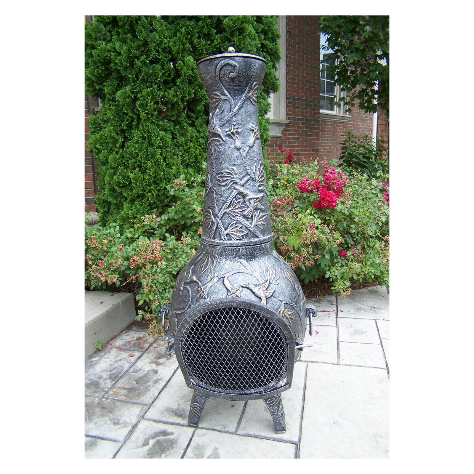 Oakland Living 53 in. Antique Pewter Leaf Chiminea by Oakland Living