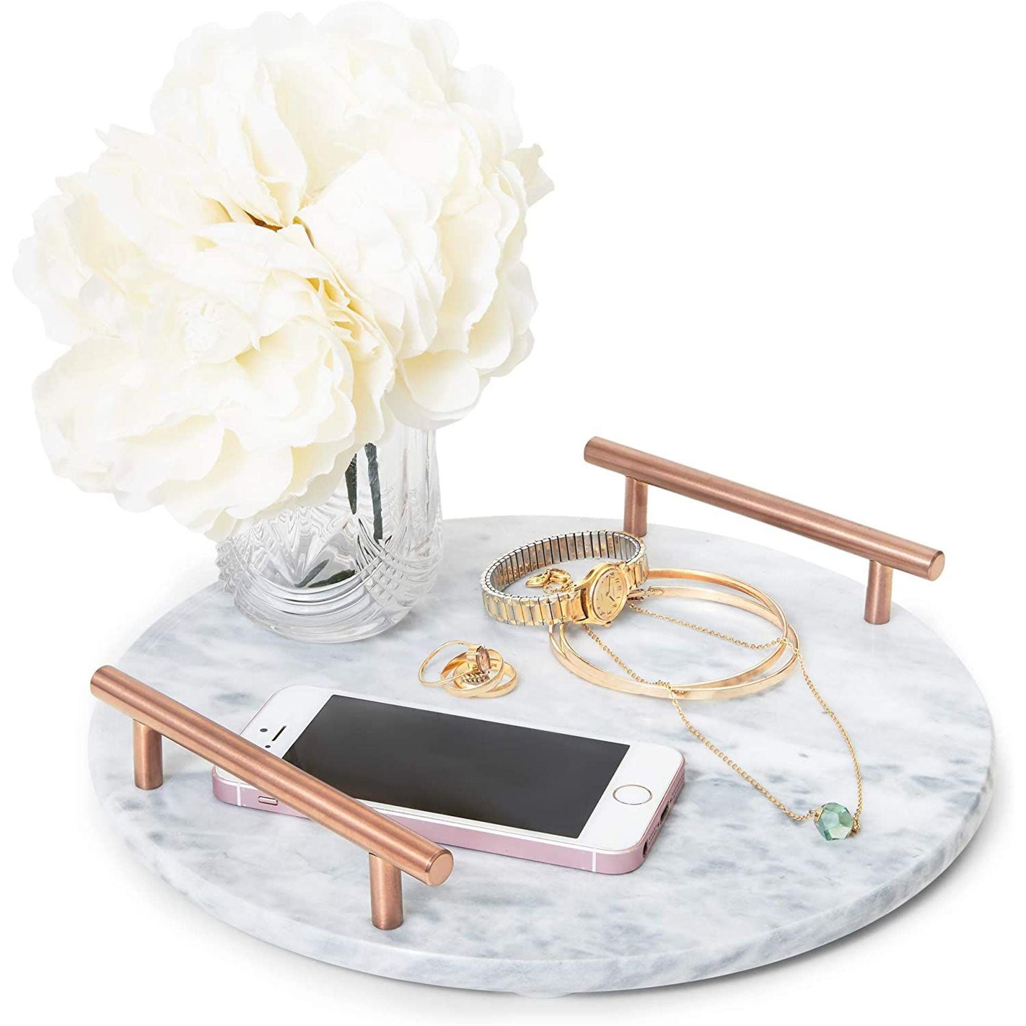 Round Marble Serving Tray Jewelry Trinket Tray Perfume Tray Bathroom Toilet Vanity Tray With Handle White 10 5 X10 5 X0 4 Walmart Com Walmart Com