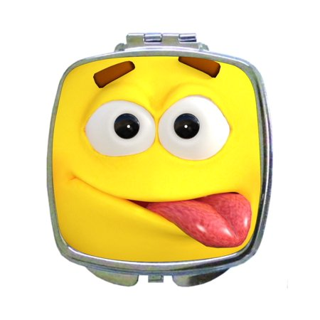 Emoticon Tongue Sticking Out (Funny Expression Yellow Emoticon Sticking Out It's Tongue Print Design - Compact Square Face/Makeup)