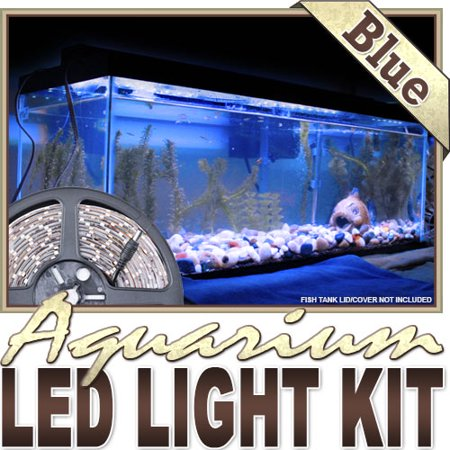 Biltek 3.3' ft Blue Aquarium Reef 455nm Blue Remote Controlled LED Strip Lighting SMD3528 Wall Plug - Main Lighting Sub Fresh Water Salt Water Tanks Water Resistant 3528 SMD Flexible DIY