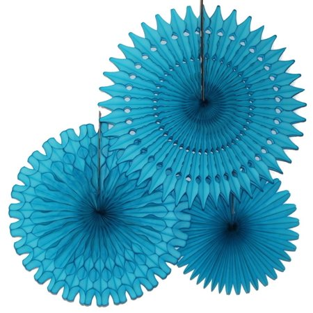 Hanging Turquoise Blue Tissue Fan Decorations, Set of 3 (21 inch, 18 inch, 13 inch) by Devra - Turquoise Party Decorations