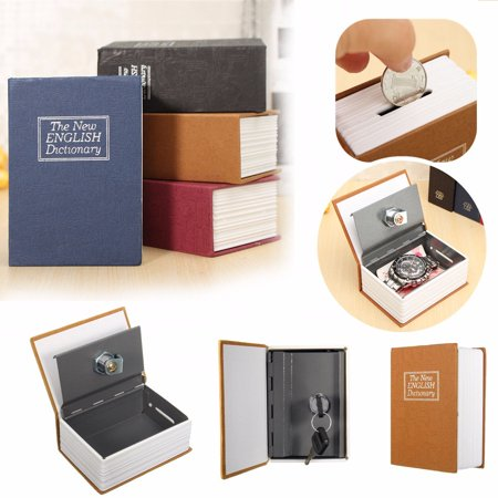 ON CLEARANCE 4.5''*3.15''*1.77'' Large Lock Box with 2 Key Diversion Book Safe Dictionary Box Great for Traveling, Store Money, Jewelry, and Passport 4 Colors ()