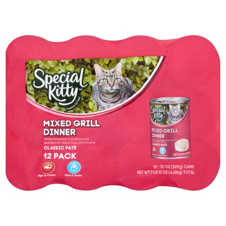 (2 pack) Special Kitty Classic Paté Mixed Grill Dinner Premium Cat Food, 13 oz, 12 count