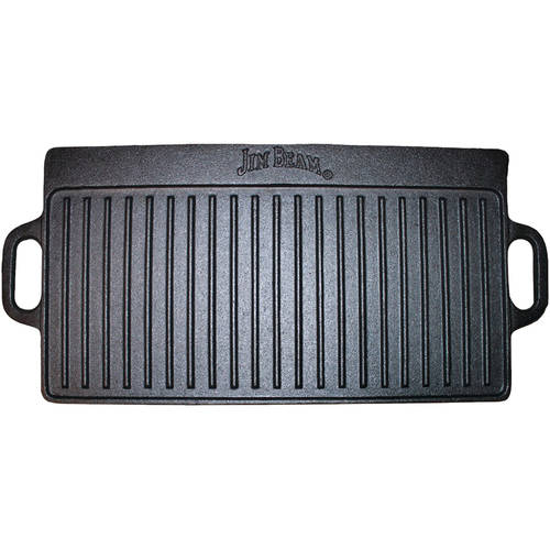 Jim Beam Pre Seasoned Heavy Duty Construction Double Sided Cast Iron Griddle