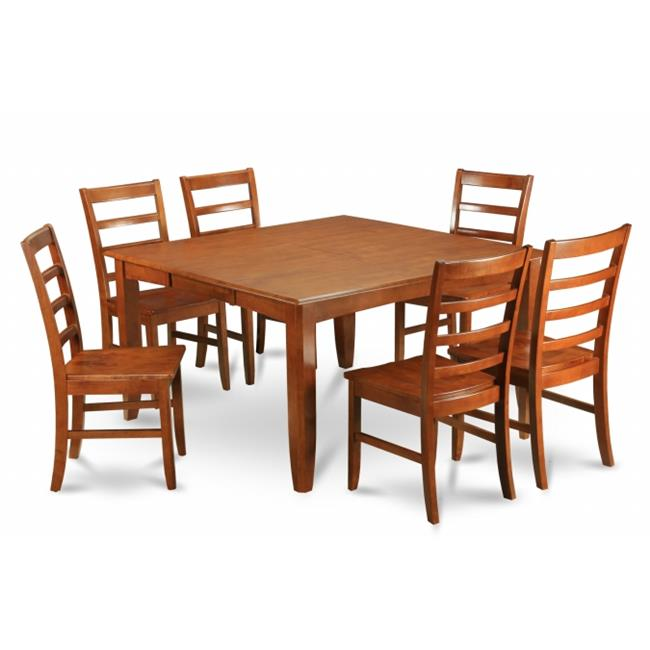 East West Furniture PARF5-SBR-W 5-Piece Parfait Square Table with 18 in. extension Leaf & 4 Wood Seat Chairs in Saddle Brown Finish