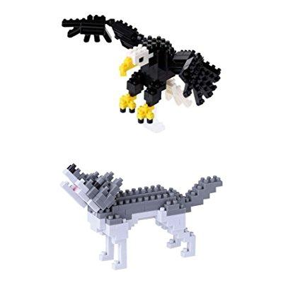 two Nanoblock sets american bald eagle and gray wolf by