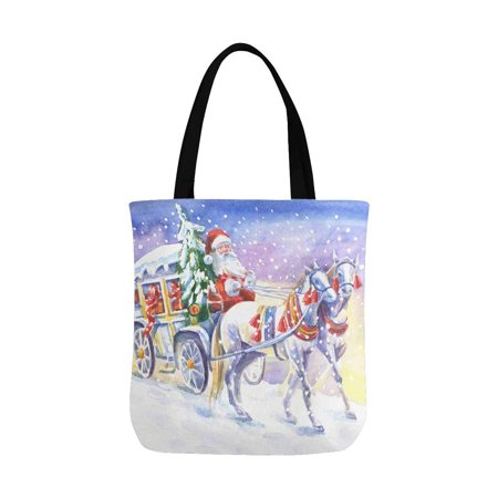 HATIART Christmas Santa Claus in Carriage and Horses Watercolor Painting Unisex Canvas Tote Canvas Shoulder Bag Resuable Grocery Bags Shopping Bags for Women Men Kids - image 2 of 3