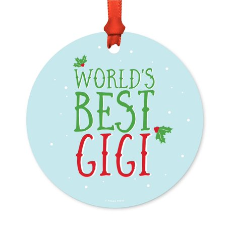 Metal Christmas Ornament, World's Best Gigi, Holiday Mistletoe, Includes Ribbon and Gift
