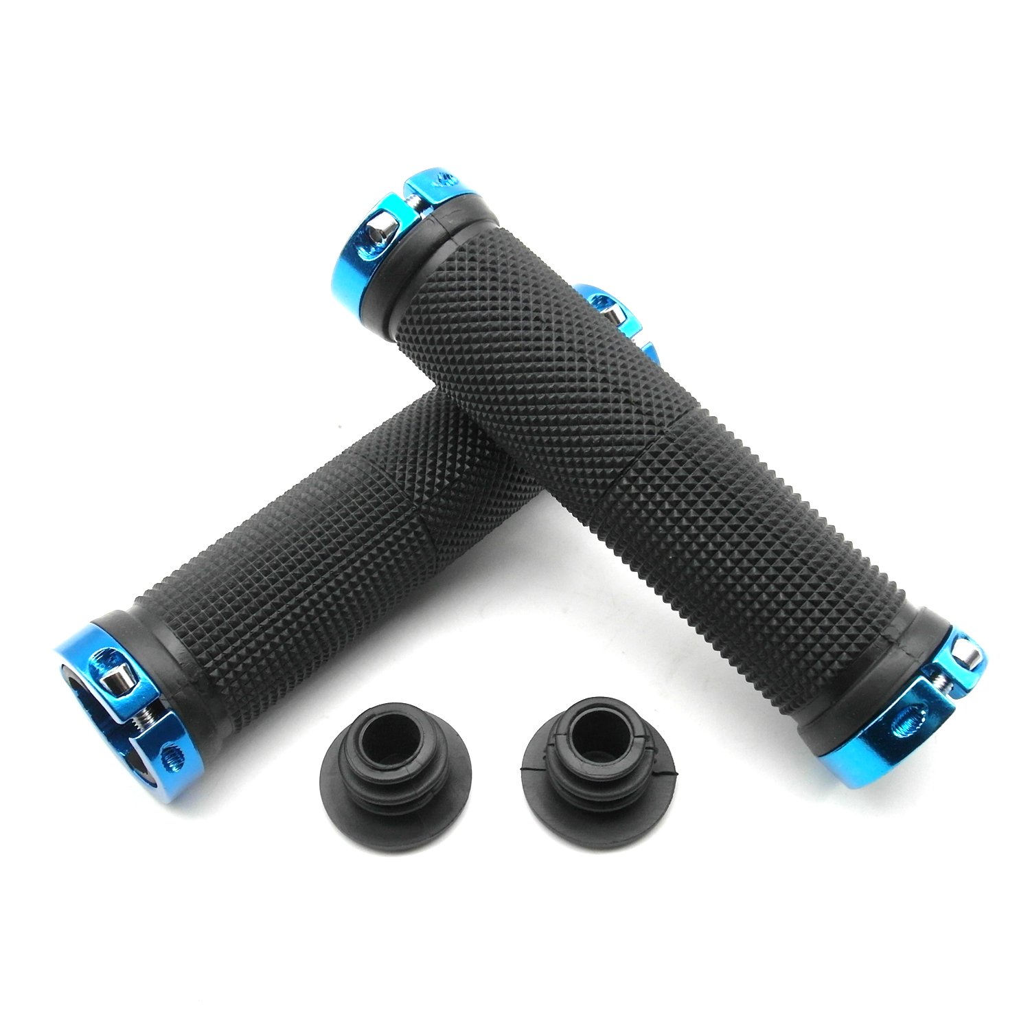 TrendBox 1 Pair Ergonomic Design Rubber Bike Bicycle Handlebar Straight Grips Comfort Anti-slip Mountain Cycling - Blue