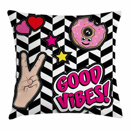 Good Vibes Throw Pillow Cushion Cover, Cartoon Pop Art Emoticons Donut Hearts and Stars V Peace Sign Hand Retro Style, Decorative Square Accent Pillow Case, 16 X 16 Inches, Multicolor, by Ambesonne - Heart Emojicon