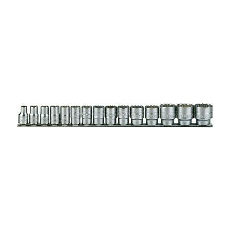 0.156 Inch Point - Teng Tools 15 Piece 1/2 Inch Drive Regular 12 Point Metric Socket Set - M1215MM