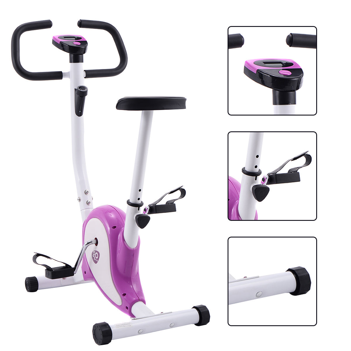 Goplus Exercise Bike Stationary Cycling Fitness Cardio Aerobic Equipment Gym Purple by Costway