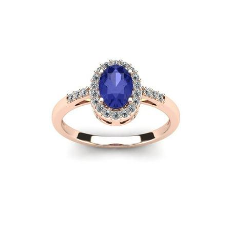 Rose Tanzanite Ring - 1 Carat Oval Shape Tanzanite & Halo Diamond Ring in 14K Rose Gold Size 4.5