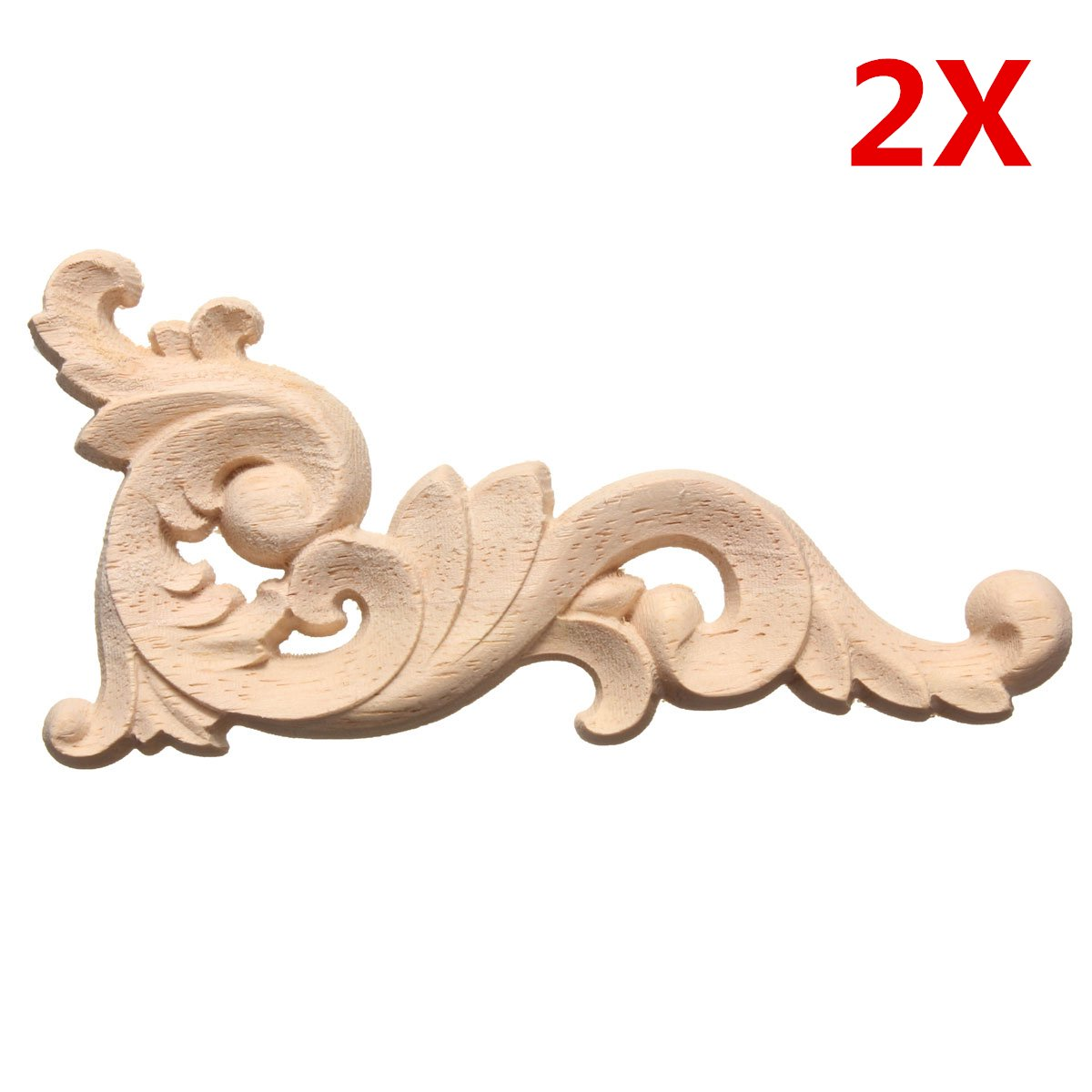 12x6cm Wood Carved Decal Corner Onlay Lique Frame Door Wall Cabinets Furniture Home Decor Unpainted New