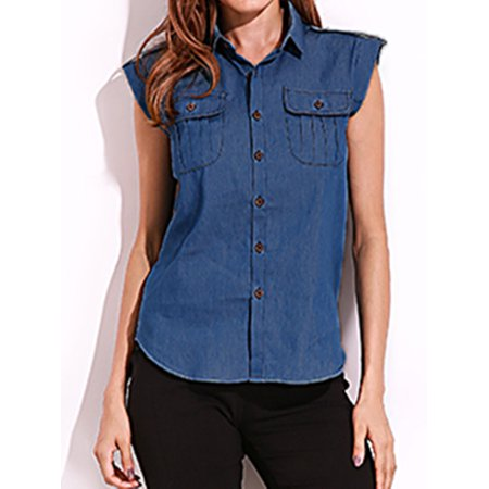 Sleeveless Button Front Jersey (Womens Tops Clearance Sleeveless Front Chest Pockets Button Down Blouses )