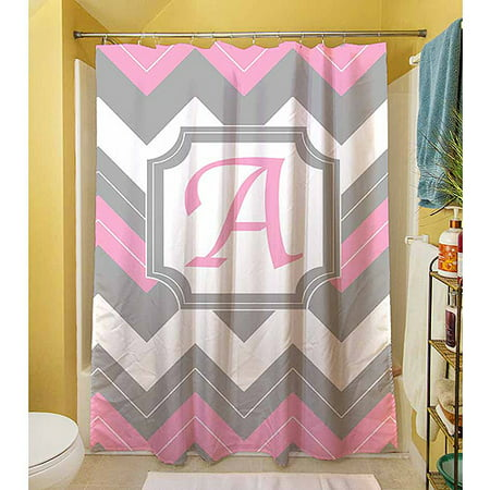 Thumbprintz Chevron Monogram Pink Shower Curtain