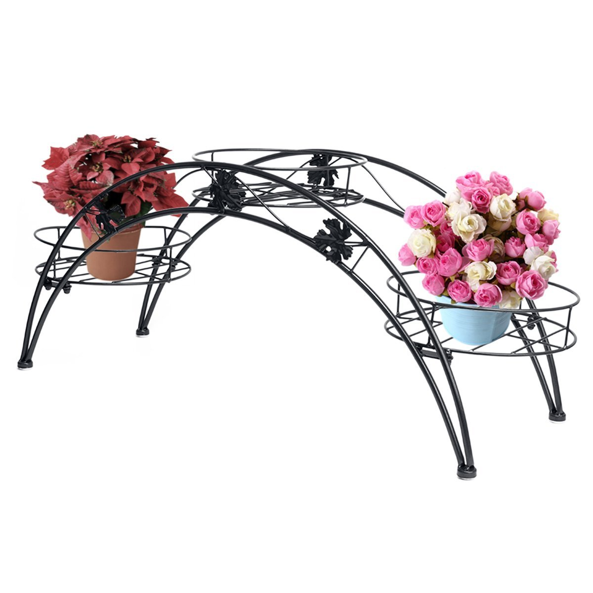 Dazone Metal-made Arched Design Potted Plant Rack with 3 Holders Plant Stand (black)