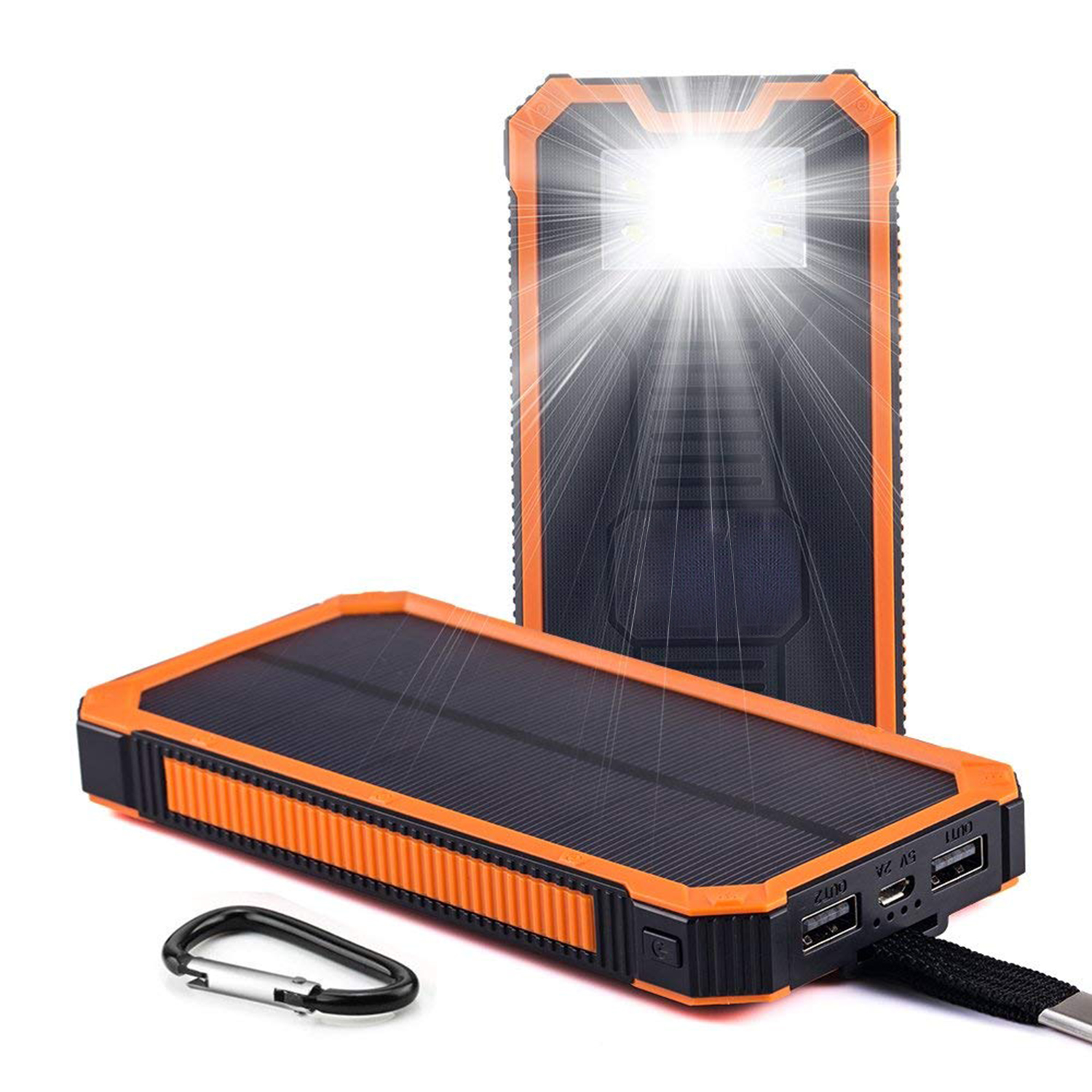 Solar Chargers 30000mAh,Portable Dual USB Solar Battery Fast Charger External Battery Pack, Solar Phone Charger Power Bank with 6LED Flashlight for Smartphones Tablet Camera Orange