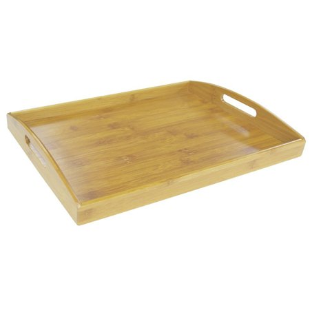 Home Basics Natural 17.25 x 11.75 x 2.2 Tan Bamboo Serving Tray With Handles (Tree Bamboo Handled Serving Plate)