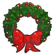 Northlight 15 in. Double Sided Lighted Shimmering Christmas Wreath Window Silhouette