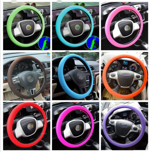 14-15.7 inch Leather Texture Car High Elastic Silicone Steering Wheel Cover Anti-Slip