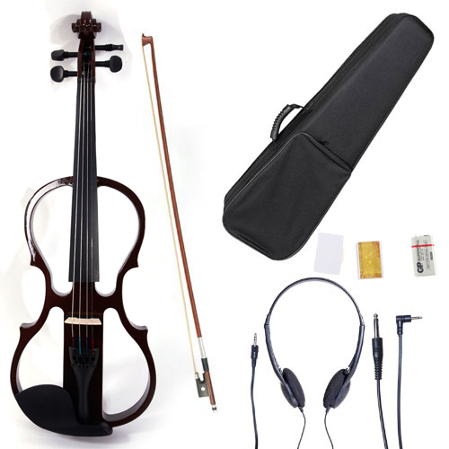 Ktaxon Brown 4/4 V-002 Solid Wood Electric/Silent Violin with Ebony Fittings - Full Size - Black Metallic