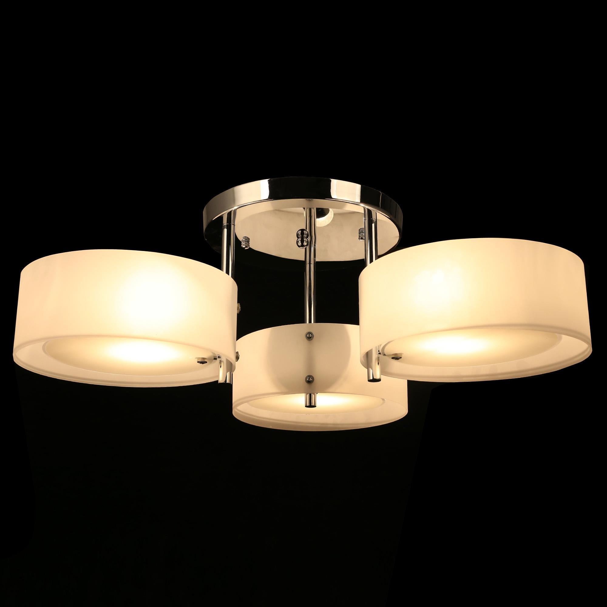3 x 40W Modern Crystal Light Round Acrylic Chandelier Pendant Lamp Flush Mount Ceiling Light Fixture BYE by