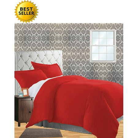 Celine Linen Wrinkle & Fade Resistant 3-Piece Duvet Cover Set - Protects and Covers your Comforter / Duvet Insert, 1500 Series LUXURIOUS 100% HypoAllergenic - Silky Soft, Full/Queen, Red Red Queen Comforter